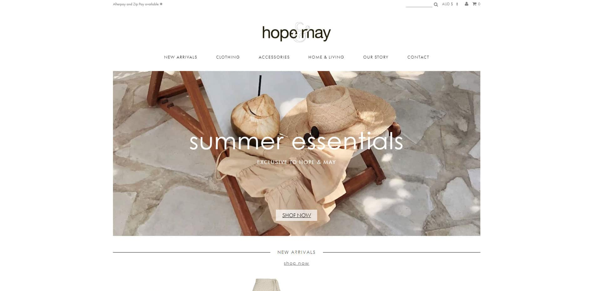 Hope & May website screenshot